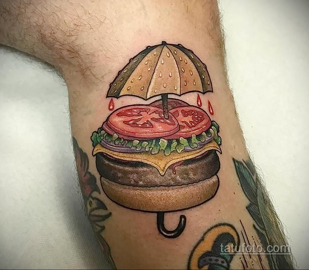 Фото рисунка татуировки с гамбургером 26.03.2021 №269 - burger tattoo - tatufoto.com