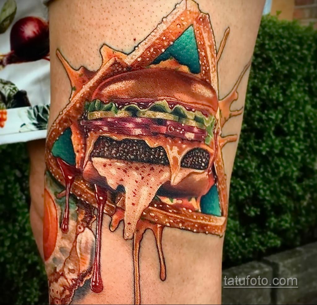 Фото рисунка татуировки с гамбургером 26.03.2021 №270 - burger tattoo - tatufoto.com
