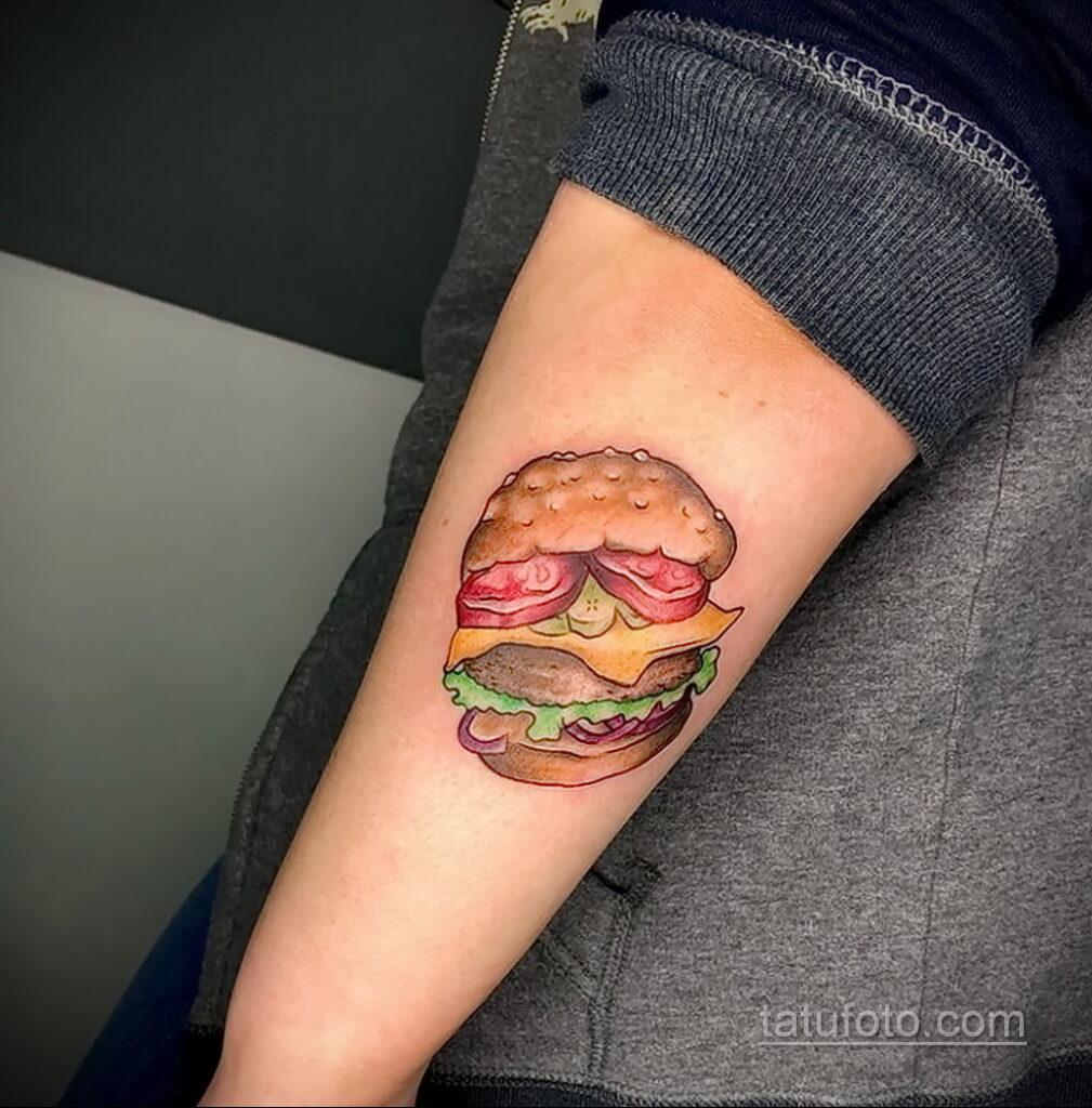 Фото рисунка татуировки с гамбургером 26.03.2021 №275 - burger tattoo - tatufoto.com