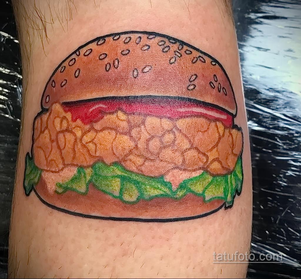 Фото рисунка татуировки с гамбургером 26.03.2021 №279 - burger tattoo - tatufoto.com