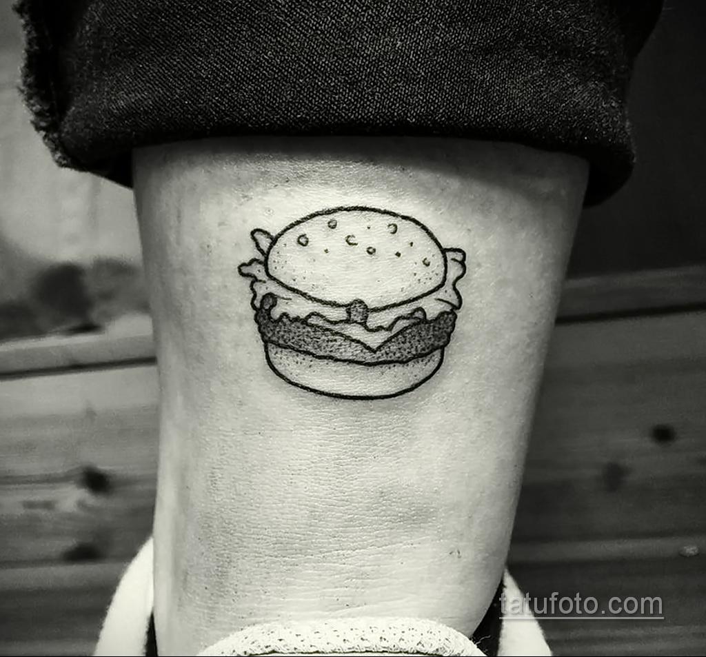Фото рисунка татуировки с гамбургером 26.03.2021 №281 - burger tattoo - tatufoto.com