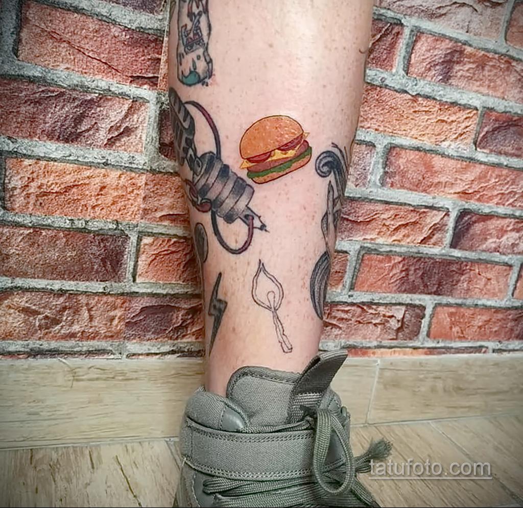 Фото рисунка татуировки с гамбургером 26.03.2021 №283 - burger tattoo - tatufoto.com