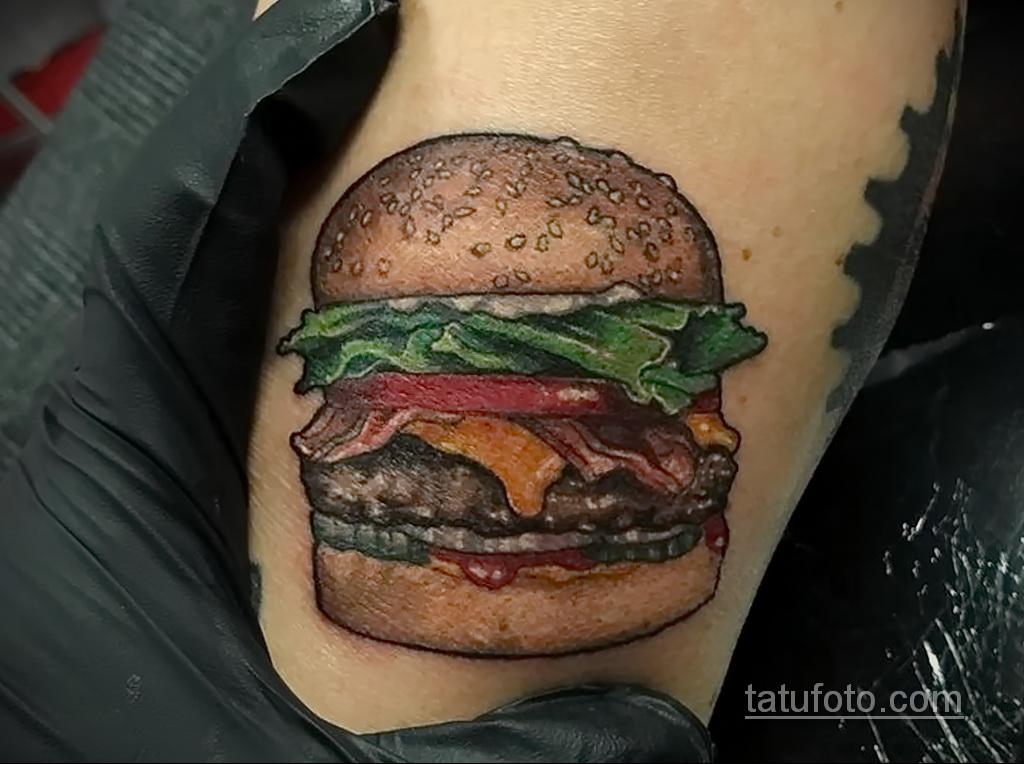 Фото рисунка татуировки с гамбургером 26.03.2021 №288 - burger tattoo - tatufoto.com