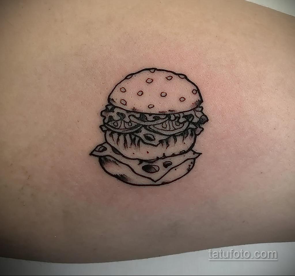 Фото рисунка татуировки с гамбургером 26.03.2021 №289 - burger tattoo - tatufoto.com