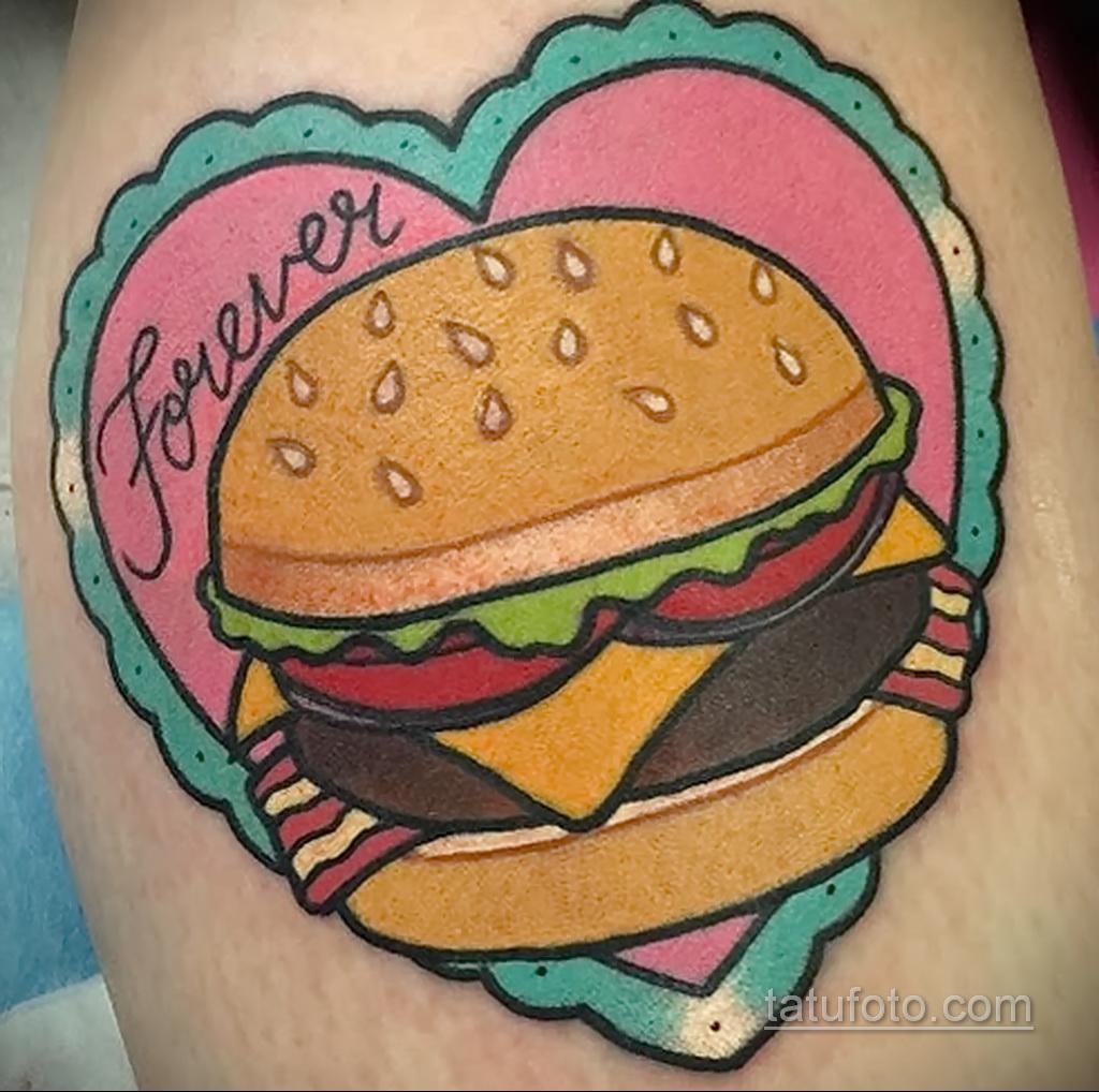 Фото рисунка татуировки с гамбургером 26.03.2021 №293 - burger tattoo - tatufoto.com