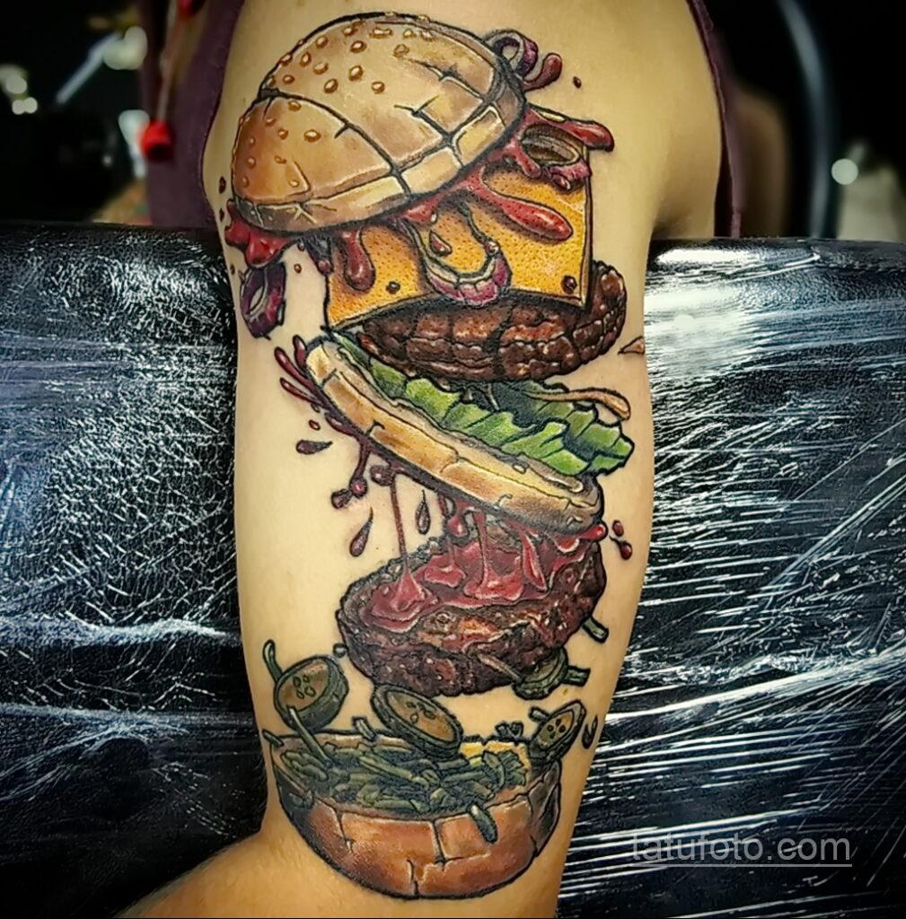 Фото рисунка татуировки с гамбургером 26.03.2021 №294 - burger tattoo - tatufoto.com