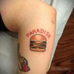 Фото рисунка татуировки с гамбургером 26.03.2021 №316 - burger tattoo - tatufoto.com