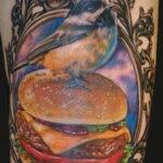 Фото рисунка татуировки с гамбургером 26.03.2021 №327 - burger tattoo - tatufoto.com