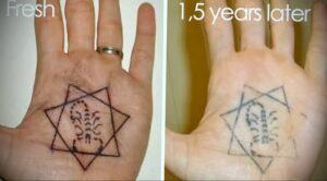 Фото старения татуировки 15.03.2021 №041 - aging tattoo - tatufoto.com