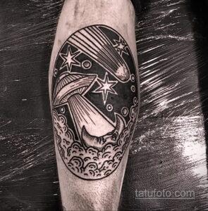 Фото татуировки с кометой (астероидом) 27.03.2021 №036 - comet tattoo - tatufoto.com