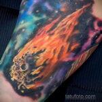 Фото татуировки с кометой (астероидом) 27.03.2021 №174 - comet tattoo - tatufoto.com