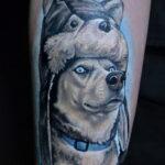 Фото татуировки с собакой породы Хаски 08.03.2021 №27127 - husky tattoo - tatufoto.com