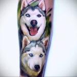 Фото татуировки с собакой породы Хаски 08.03.2021 №36136 - husky tattoo - tatufoto.com