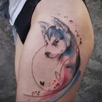 Фото татуировки с собакой породы Хаски 08.03.2021 №43143 - husky tattoo - tatufoto.com