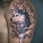 Фото татуировки с собакой породы Хаски 08.03.2021 №68168 - husky tattoo - tatufoto.com