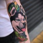 Фото татуировки с собакой породы Хаски 08.03.2021 №70170 - husky tattoo - tatufoto.com