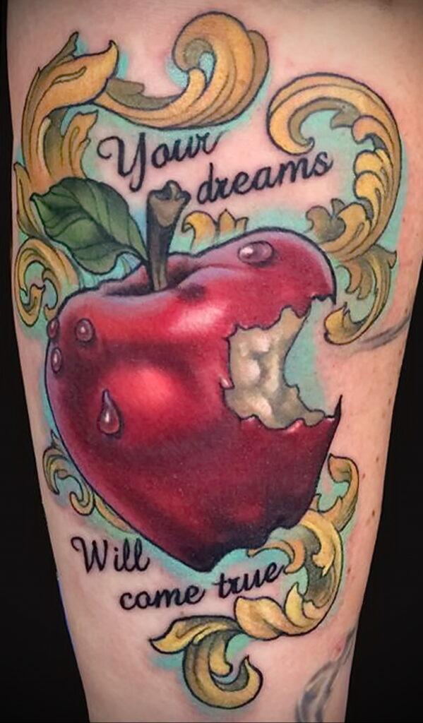 Фото татуировки с яблоком 03.03.2021 №108 - apple tattoo - tatufoto.com
