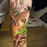 Фото татуировки с яблоком 03.03.2021 №182 - apple tattoo - tatufoto.com