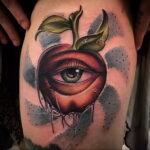 Фото татуировки с яблоком 03.03.2021 №183 - apple tattoo - tatufoto.com