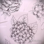 Фото татуировки цветок гортензия 31.03.2021 №114 - tattoo hydrangea - tatufoto.com