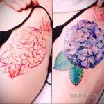 Фото татуировки цветок гортензия 31.03.2021 №119 - tattoo hydrangea - tatufoto.com