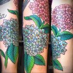Фото татуировки цветок гортензия 31.03.2021 №129 - tattoo hydrangea - tatufoto.com