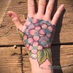 Фото татуировки цветок гортензия 31.03.2021 №135 - tattoo hydrangea - tatufoto.com