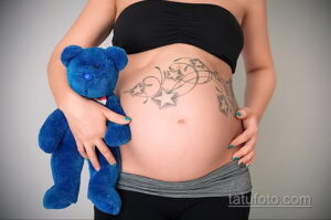Фото беременная с тату 19.04.2021 №007 - pregnant tattoo - tatufoto.com