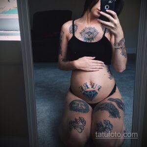 Фото беременная с тату 19.04.2021 №030 - pregnant tattoo - tatufoto.com
