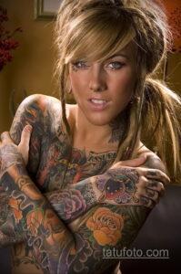 Фото интересного рисунка женской тату 05.04.2021 №012 - female tattoo - tatufoto.com