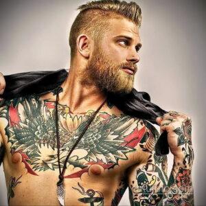 Фото интересного рисунка мужской тату 05.04.2021 №037 - male tattoo - tatufoto.com