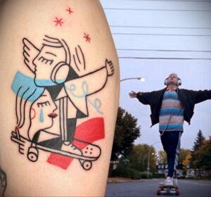 Фото тату со скейтбордом 19.06.2021 №008 - skateboard tattoo - tatufoto.com