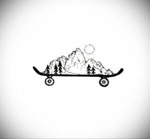 Фото тату со скейтбордом 19.06.2021 №029 - skateboard tattoo - tatufoto.com
