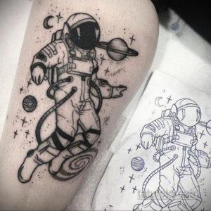 Фото тату астронавт 17.07.2021 №230 - astronaut tattoo - tatufoto.com