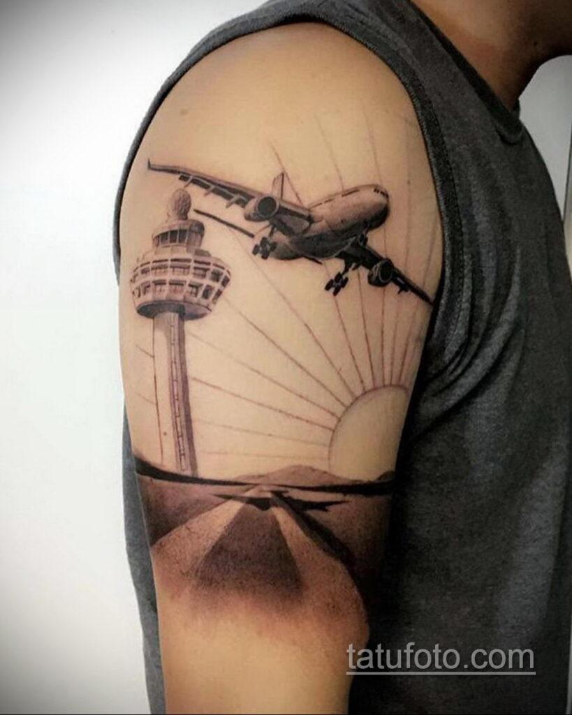 Фото тату самолет 06.07.2021 №395 - airplane tattoo - tatufoto.com